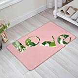 ZOE GARDEN Personalized Welcome Door Mats Inside Non Slip Washable, Pink Background Love Font Green Flowers Illustration Decor House Apartment Office Front Door Rugs Doormats, 20x31.5 Inches