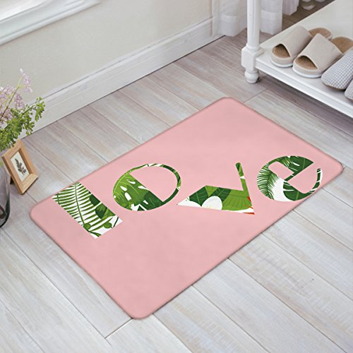 ZOE GARDEN Personalized Welcome Door Mats Inside Non Slip Washable, Pink Background Love Font Green Flowers Illustration Decor House Apartment Office Front Door Rugs Doormats, 20x31.5 Inches by ZOE GARDEN
