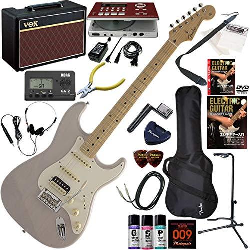 FENDER エレキギター 初心者 入門 日本製 定番モデルのルックスにモダンなスペックが調和したストラト。PUはH-S-S構成。 ギターの練習が楽しくなるCDトレーナー(エフェクターも内蔵)と人気のギターアンプVOX Pathfinder10が入った強力21点セット Made in Japan Hybrid 50s Stratocaster HSS/OTM(オーシャンターコイズメタリック) B07QPJPQ8F USB(USブロンド)  USB(USブロンド)