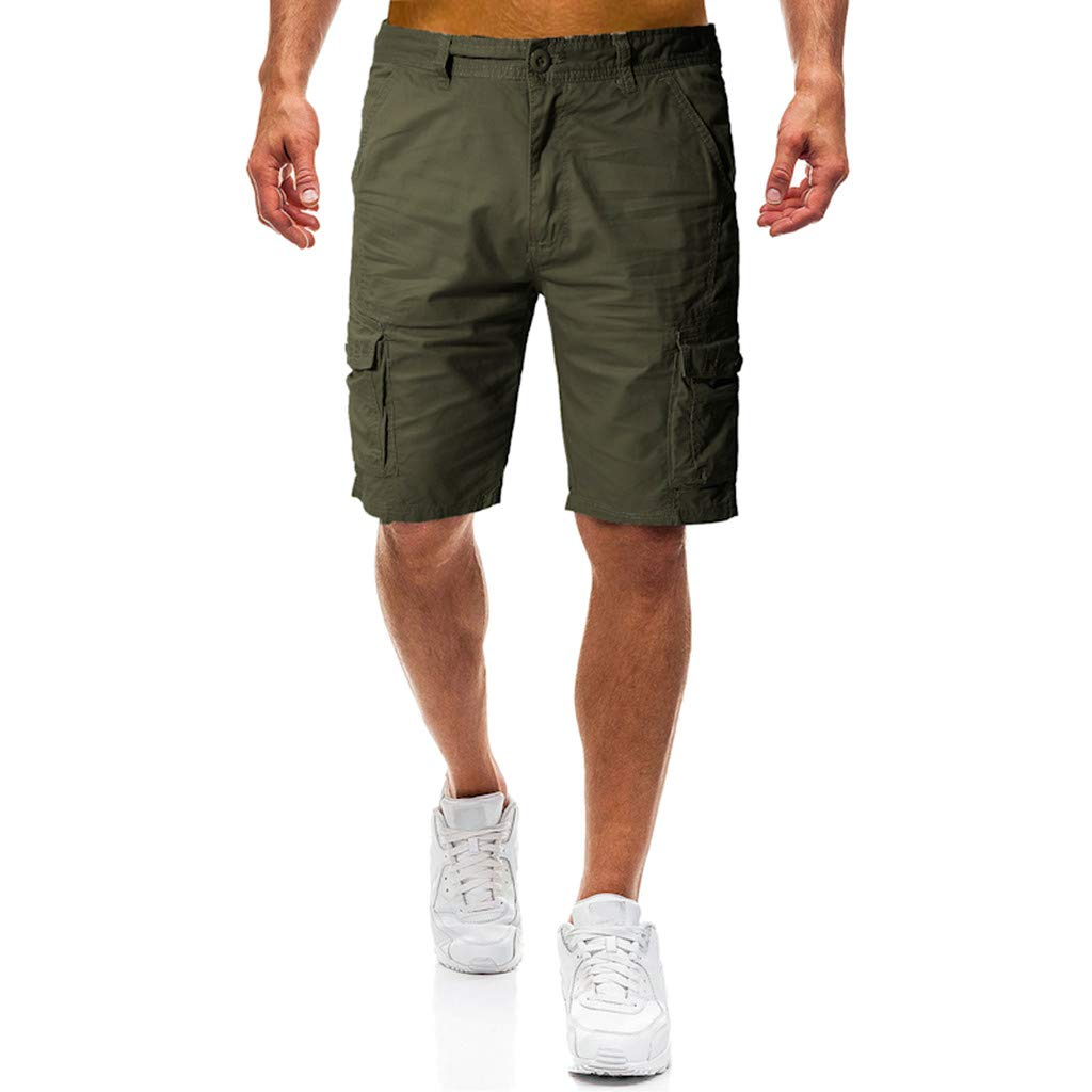STORTO Mens Casual Shorts Summer Fashion Pockets Workout Slim Fit Working Cargo Shorts Army Green