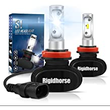 Rigidhorse H11(H9,H8) LED Headlight Bulbs With CSP Chips 60W 8500LM 6500K Cool White LED Headlight Bulbs All-in-One Conversion Kit, Black, 2 Years Warranty