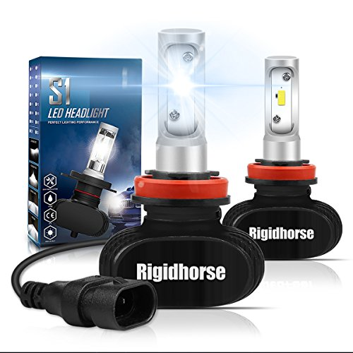 Rigidhorse H11(H9,H8) LED Headlight Bulbs With CSP Chips 60W 8500LM 6500K Cool White LED Headlight Bulbs All-in-One Conversion Kit, Black, 2 Years (Black 1 Bulb)