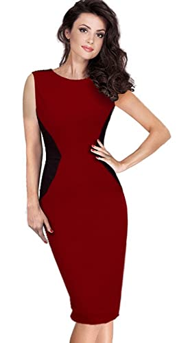 HOMEYEE Women's Elegant Patchwork Wear to Work Sleeveless Party Bodycon Dress 561