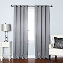 "Best Home Fashion Thermal Insulated Blackout Curtains - Antique Bronze Grommet Top - Grey - 52""W x 84""L - Tie backs included (Set of 2 Panels)"