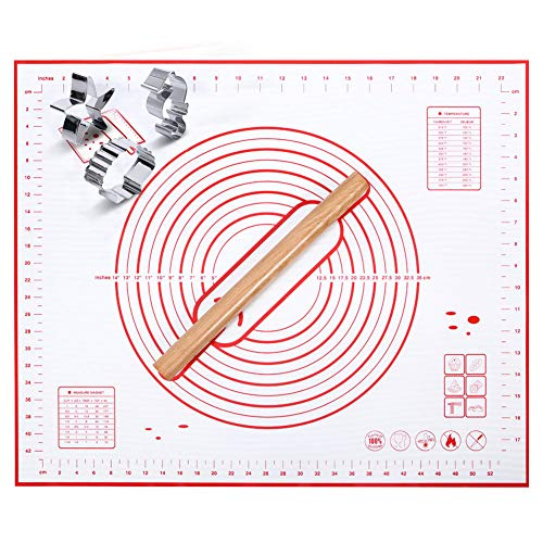 """$13.97 Silicone Pastry Mat - Non Slip Extra Large Silicone Baking Mats with Measurements 24"""" X 20"""" Dough Rolling Mat Pastry Sheet Silicone Rolling Mat with Sea-themed Cookie Cutters,Wood Rolling Pin"""