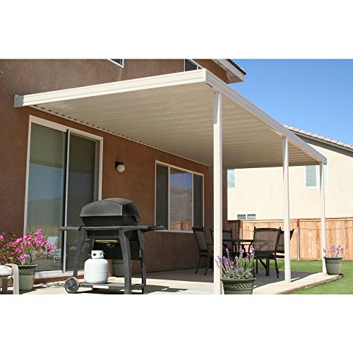 16 Ft X 8 Ft Ivory Aluminum Attached Solid Patio Cover