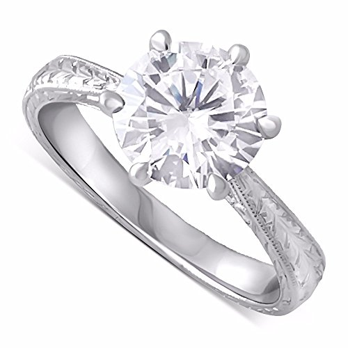 Hand Engraved Engagement Setting (14K White Gold Forever One Moissanite Six Prongs Hand Engraved Engagement Ring)