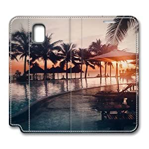 Brain114 Fashion Style Case Design Flip Folio PU Leather Cover Standup Cover Case with Beach Resort 4 Pattern Skin for Samsung Galaxy Note 3