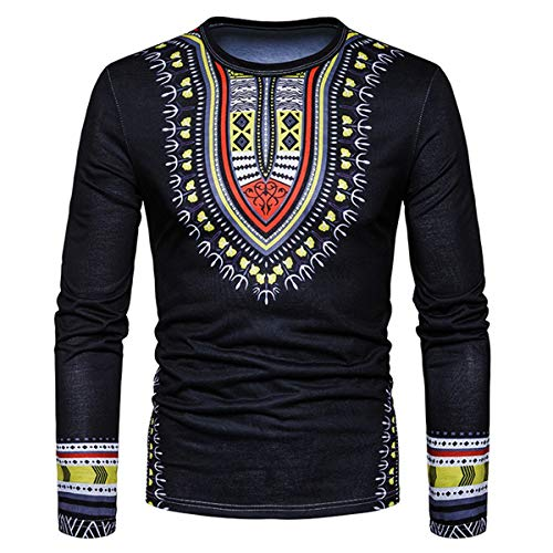 (Men's National 3D Print O-Neck Long Sleeve Casual Shirt Ethnic Floral Pattern Fashion Tee Tops (Color : Black, Size : L))