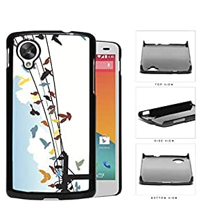 Colorful Birds on Sky Wire Line Hard Snap on Phone Case Cover Lg Google Nexus 5
