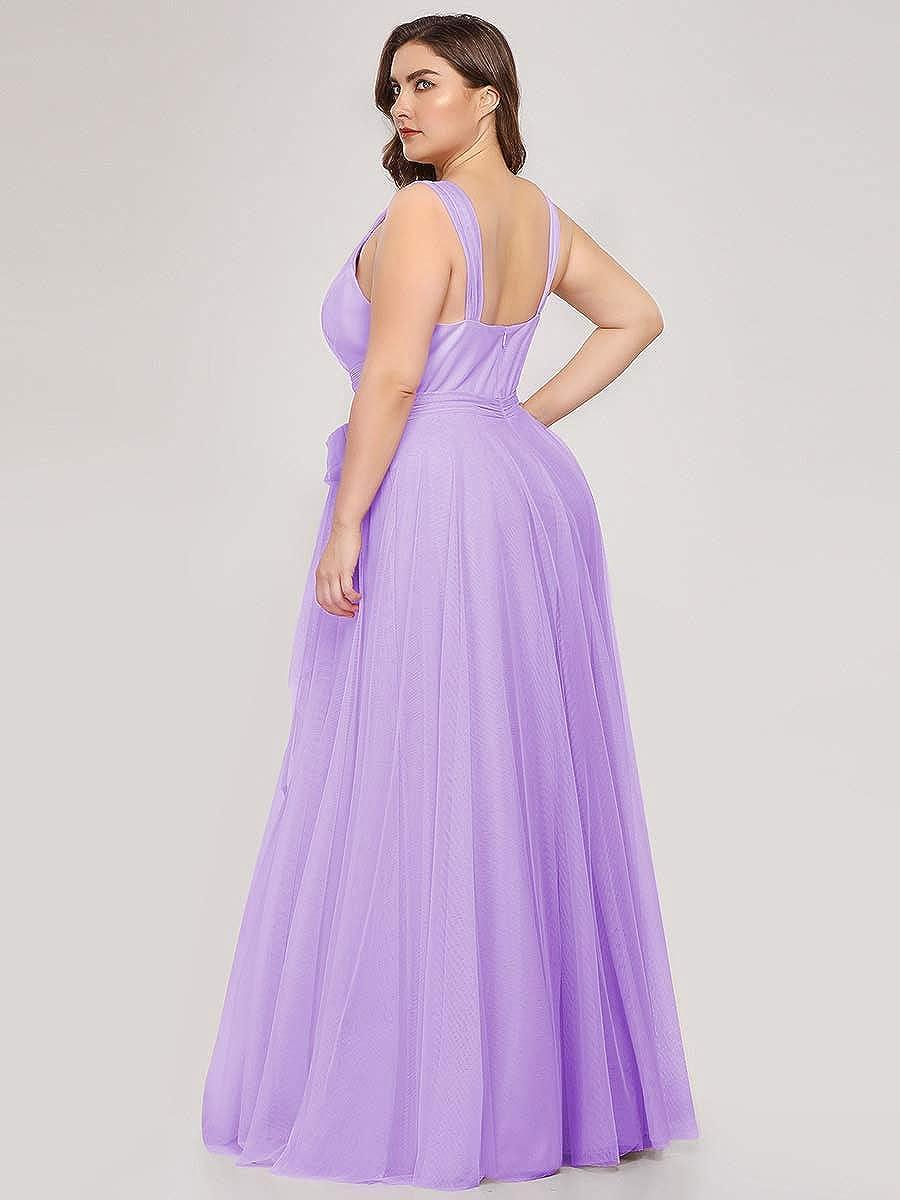 Ever-Pretty Robe de Soir/ée Grand Taille /Él/égante A-Line Taille Empire Col en V Tulle Longue Femme 07303PL