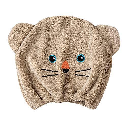 Transer Shower Cap, Cute Bear Microfiber Turban Quickly Dry Hair Hat Wrapped Towel Bath Caps (Brown) from Transer-