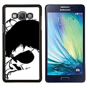 EJOOY---Cubierta de la caja de protección para la piel dura ** Samsung Galaxy A7 A7000 ** --Gafas de sol Negro Arte Cara Blanca Retrato Hombre
