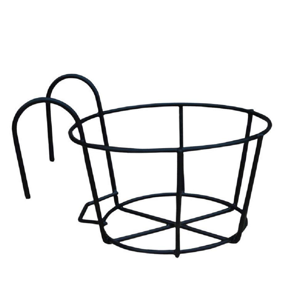 Iron Art Hanging Baskets Flower Pot Holder,Great for Patio Balcony Porch Or Fence Black