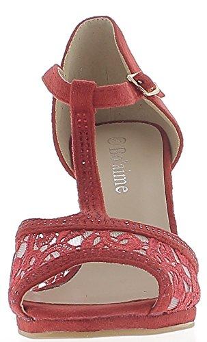 Escarpins ouverts rouges à talon de 8,5cm et petit plateau aspect daim et strass