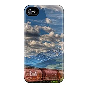AWU DIYFaddish Phone Tanker Train Going To The Canadian Rockies Hdr Case For Iphone 4/4s / Perfect Case Cover