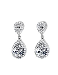 UMODE Jewelry Bridal Style 3 Carat Pear Cut Cubic Zirconia Tiny CZ Diamond Accent Halo Teardrop Dangle Earrings for Women 1.2""