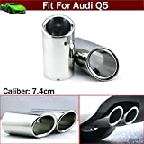 OEM 2pcs Silver Color Stainless Steel Exhaust Muffler Rear Tail Pipe Tip Tailpipe Extension Pipes Custom Fit For Audi Q5 2008 2009 2010 2011 2012 2013 2014 2015 2016 2017