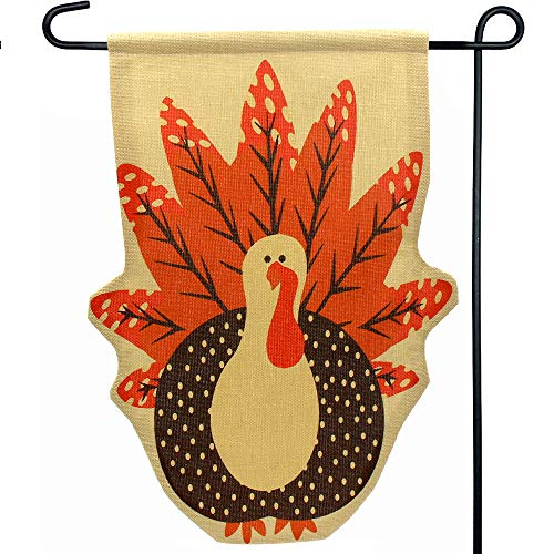NEWBEA Thanksgiving Fall Turkey Burlap Garden Flag - Thanksgiving Decorations for Home Décor Yard Outdoor Thanks Party Favor, 12 x 18