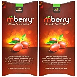 "mberry Miracle Fruit Tablets, 10-Count (Pack of 2) 1 MBERRY MIRACLE FRUIT TABLET - The new indulgence is practically magic! Turn sour food sweet by inhibiting your taste receptors. Truly transform foods you never thought could be so sweet and delicious. PERFECT FOR - Explore the many ways to use mberry tablets. Host ""flavor-tripping"" dinner parties or get your kids to eat their vegetables. Make hot sauce taste like hot donut glaze, lemons taste like lemonade, and much more! ON THE GO - These miracle berry flavor change pills come in a convenient on-the-go packaging that preserves its Miraculin properties. Take with you wherever you go, suitable for all ages."