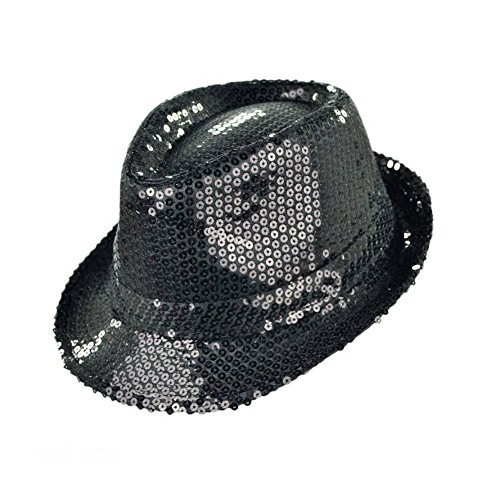 Black Top Glitter Hat (Funkeet Adult Sequin Fedora Hat Kid Dance Cap Solid Jazz Hat Party Glitter Costum (S - Kids, Black))