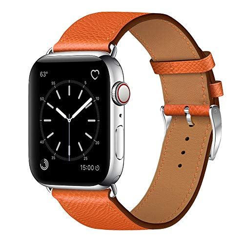 MARGE PLUS Compatible with Watch Band 38mm 40mm, Genuine Leather iWatch Strap Compatible with Watch Series 4 (40mm) Series 3 Series 2 Series 1 (38mm) Sport and Edition, Orange ()