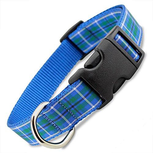 The Artful Canine Plaid Dog Collar, Blue Douglas Tartan, Med