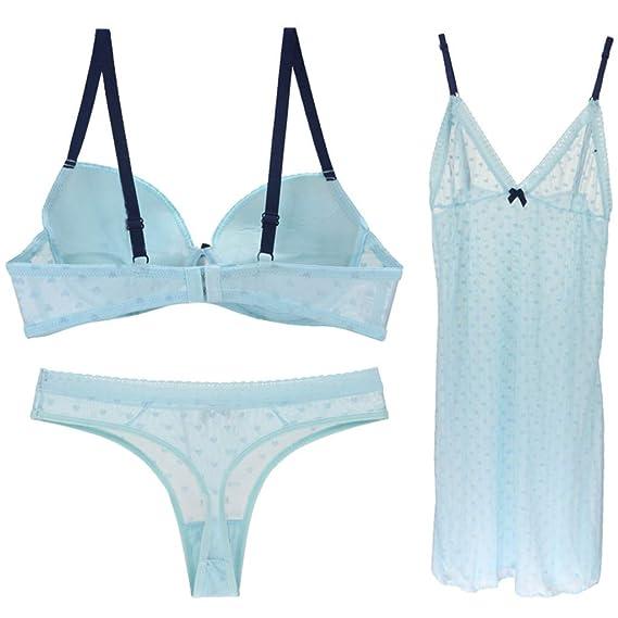 dfe89b004 li he1Traje De Ropa Interior Sujetador De Encaje Sexy Traje Gasa  Transparente Pijama Sling Falda: Amazon.es: Ropa y accesorios