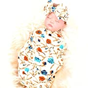 Newborn receiving blanket headband set flower print baby swaddle receiving blankets galabloomer