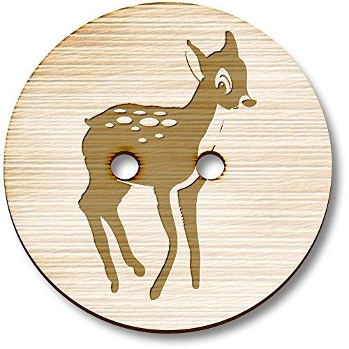 Azeeda 8 x 23mm 'Baby Deer (Foal)' Round Wooden Buttons (BT00000829) ()