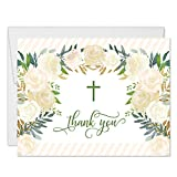 Lovely Christian Baptism Folded Thank You Cards with Envelopes (Pack of 50) Simple Religious Wreath Cross Design Christening Dedication Naming Ceremony Thank You Gracias Notes Excellent Value VT0094