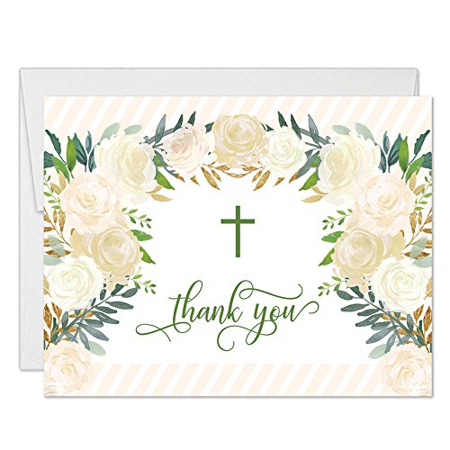 Lovely Christian Baptism Folded Thank You Cards with Envelopes ( Pack of 25 ) Simple Religious Wreath Cross Design Christening Dedication Naming Ceremony Thank You Gracias Note Excellent Value VT0094B