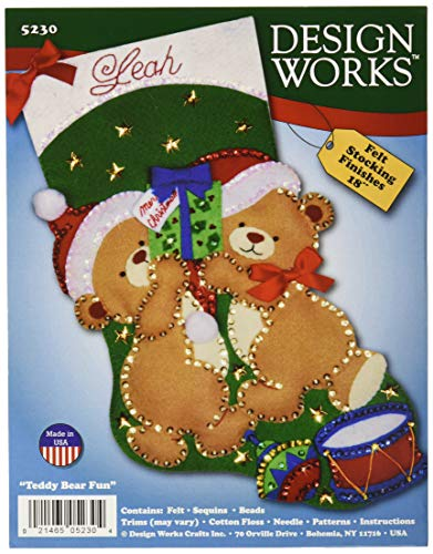 Tobin Teddy Bear Fun Stocking Felt Applique Kit-18 Long