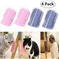 4 Pack Cat Self Groomer, Magnoloran Cats Corner Groomers Soft Wall Corner Massage Combs Grooming Brush Soft Rubber Bristles Perfect Massager Deshedding Tool for Long & Short Fur Kitten Puppy (Pink and Grey)