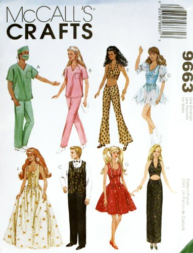 Doll Sewing Barbie Patterns - Mccall's Crafts 9663 Doll Pattern