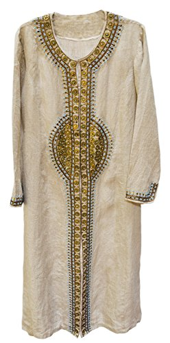 Cleo Heavy Embroidered Beaded Kaftan Style Linen Long Jacket Robe Natural Beige Turquoise (Jacket Beaded Linen)