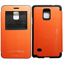 "[Orange] N4 [Quick Window View] Note4 Bumper Case PU Leather Flip Cover [Magnetic closure] [Anti Shock] Case for Samsung Galaxy Note 4 IV 5.7"" Release on 2014 ARAN4OR"