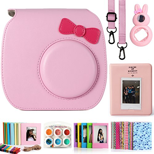 CAIUL Compatible Mini 7s Case Bundle with Album, Filters & Accessories for Fujifilm Instax Mini 7s and Polaroid PIC-300 Camera (Pink, 7 Items)