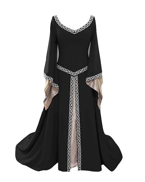 Guiran Vestito Medievale Donna Costumi Medievali Abito Cosplay Costume Nero  S ce798154a1b