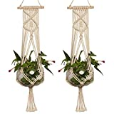 LANGUGU Set of 2 Macrame Plant Hanger with Wooden Dowel Wall Hanging Planter Basket for Indoor Outdoor Flower Pot Plant Holder Wall Art Vintage Home Boho Decor, Cotton Rope Weaving, 4 Legs 41 inch