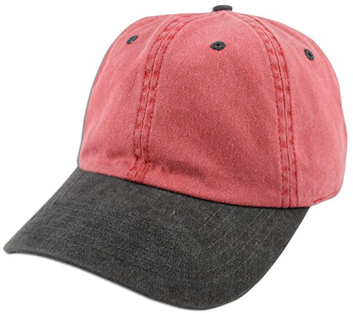 Dad Hat Pigment Dyed Two Tone Plain Cotton Polo Style Retro Curved Baseball Cap (Red / Black) (Two Hat Tone Baseball)