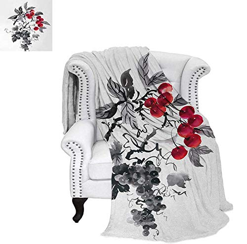 (Summer Quilt Comforter Rural Nature Inspired Artistic Foliage Composition Wild Berry Plant with Leaves Digital Printing Blanket 70