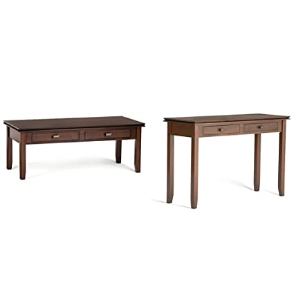 Exceptionnel Simpli Home Artisan Coffee Table, Medium Auburn Brown + Simpli Home Artisan  Console Sofa Table