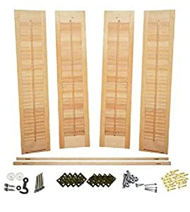 Interior Shutter Kit 1 1 4 Louvers Unfinished Wood Traditional Style Unfinished