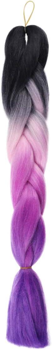 NUOBESTY Disfraz de Mujer Peluca de Cola de Caballo Peluca Colorida Trenzada Arco Iris Fiesta Cosplay Cola de Caballo Peluca de Pelo para Niñas Estilo de Damas 2