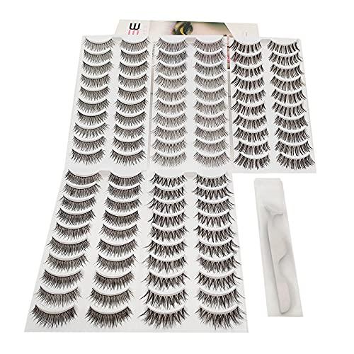Eyelashes 50 Pairs 5 Mixed Styles ,Cat Eyes Look, False Eyelashes Natural Look Wispies Eyelashes Pack Reusable Fake eyelashes   Short False Lashes Thin Strip