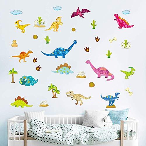 - ufengke Cartoon Dinosaurs Wall Stickers Jurassic World Wall Decals Wall Decor for Kids Bedroom Nursery Living Room