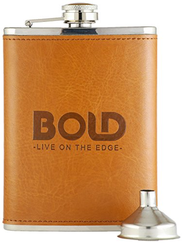 Bold Brands 8 Oz. Hip Flask, Stainless Steel with Engraved Brown Leather Wrap And Funnel