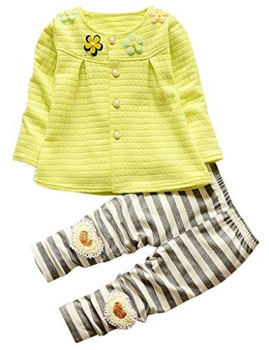 (Asherangel Toddler Girls Cardigan Top Striped Leggings Pant Clothing Set Outfits Yellow 3T)