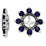 ICE CARATS 925 Sterling Silver Created Sapphire Black Earrings Jacket Birthstone September Fine Jewelry Gift Set For Women Heart
